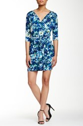 Loveappella 3 4 Length Sleeve Faux Wrap Floral Dress Blue