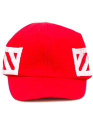 Off White Striped Baseball Cap Red