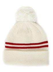 Topman White And Red Stripe Bobble Beanie Hat