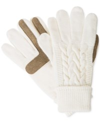 Isotoner Signature Solid Triple Cable Knit Palm Smartouch Tech Gloves Ivory