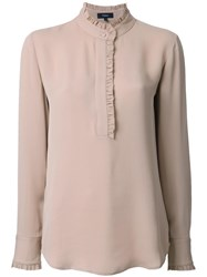 Theory Henley Blouse Brown