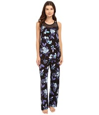 Midnight By Carole Hochman Pajama With Geo Mesh Lace Night Floral Women's Pajama Sets Blue