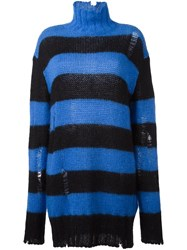 Filles A Papa Turtleneck Striped Dress Blue
