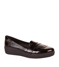 Fitflop Patent Fringey Sneakerloafers Female Black