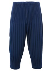 Homme Plisse Issey Miyake Pleated Cropped Trousers Blue