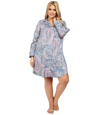 Lauren Ralph Lauren Plus Size Cotton Sateen Sleepshirt Blue Paisley Women's Pajama