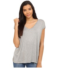Culture Phit Eydie Short Sleeve Top With Cuffed Sleeves Heather Grey Women's Clothing Gray