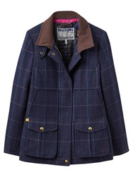 Joules Fieldcoat Semi Fitted Tweed Coat Navy Check