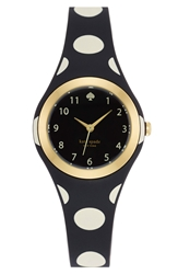 Kate Spade 'Rumsey' Plastic Strap Watch 30Mm Black White Polka Dot