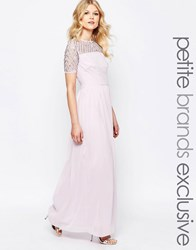 Maya Petite Chiffon Embellished Maxi Dress Lavender Purple