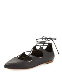Loeffler Randall Ambra Leather Lace Up Flat Black