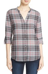 Soft Joie Women's 'Dane' Plaid Split Neck Roll Sleeve Shirt Soft Grey Caviar