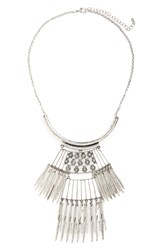 Stephan Co. Bib Statement Necklace Burnished Silver