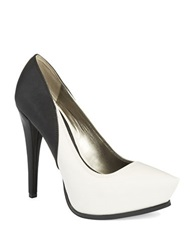 Sam Edelman Jaelyn Colorblocked Platform Stilettos White Black