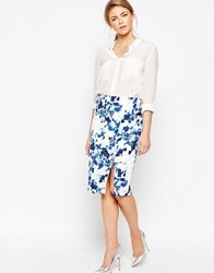 Oasis Oriental Print Pencil Skirt Multi