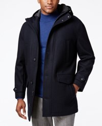 London Fog Hooded Insulated Duffle Coat Office Navy