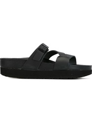 Y's Buckled Strap Sandals Black