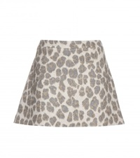 Stella Mccartney Leopard Print Wool Blend Miniskirt Neutrals