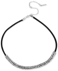 Kenneth Cole New York Silver Tone Leather Seed Bead Frontal Necklace