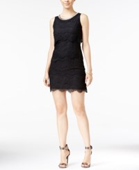 Jessica Simpson Embellished Tiered Lace Shift Dress Black