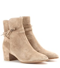 Gianvito Rossi Moore Suede Ankle Boots Beige