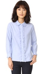 English Factory Ruffle Button Down Shirt Oxford Blue