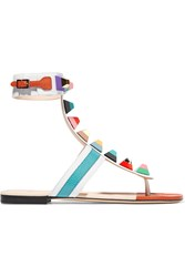 Fendi Embellished Leather Sandals