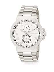 Saks Fifth Avenue Stainless Steel Coin Edge Multi Function Watch