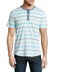 Penguin Striped Short Sleeve Shirt Crystal Blue