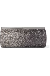 Jimmy Choo Trinket Glittered Satin Clutch Silver