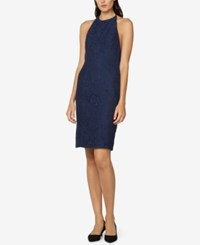 Fame And Partners Open Back Lace Halter Dress Navy