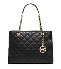 Michael Kors Susannah Large Quilted Leather Tote Black
