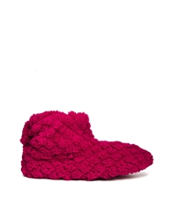 Totes Quilted Slouch Bootie Slippers Berry