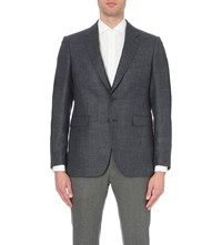 Gieves And Hawkes Flecked Wool Blend Jacket Blue