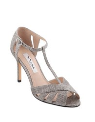 Nina Ricarda T Strap Evening Pumps Grey
