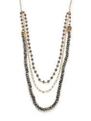 Nest Pyrite And Druzy Triple Strand Beaded Necklace Gold Grey