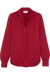 Dkny Stretch Silk Crepe De Chine Blouse Red