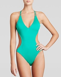 Milly Solid Swim Monokini Maillot One Piece Swimsuit Green