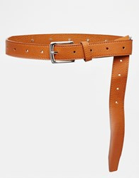 Pieces Waist And Hip Knot Detail Belt Tan