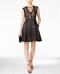 B And A By Betsy And Adam Illusion Lace Fit And Flare Party Dress Black