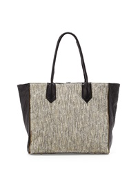 Lauren Merkin Reese Tweed Leather Zip Trim Tote Bag Ivory Black