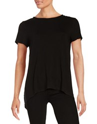 Vince Camuto Hi Lo Mixed Media Tee Rich Black
