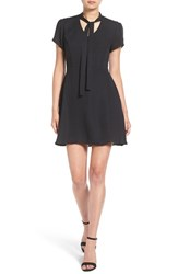 Women's Bp. Tie Neck Fit And Flare Dress Black