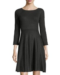 Neiman Marcus Ribbed Grommet Laced Dress Charcoal