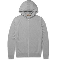 Loro Piana Cotton And Cashmere Blend Zip Up Hoodie Light Gray
