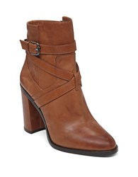 Vince Camuto Gravell Leather Ankle Boots Cognac