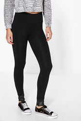 Boohoo Lace Trim Basic Leggings Black