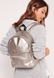 Missguided Faux Leather Classic Backpack Silver Pewter