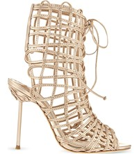 Sophia Webster Delphine Metallic Leather Gladiator Boots Gold