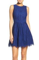 Adelyn Rae Women's Lace Fit And Flare Dress Electric Blue
